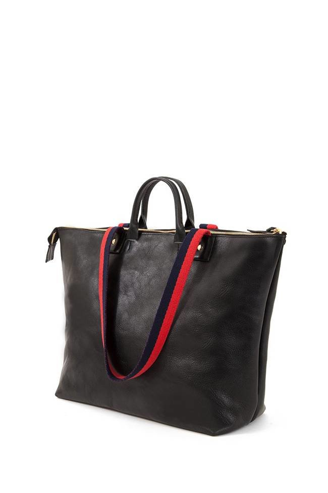 10d8517499e71 Clare V. Le Zip Sac - Black w  Rustic Suede Inlay - The Fold