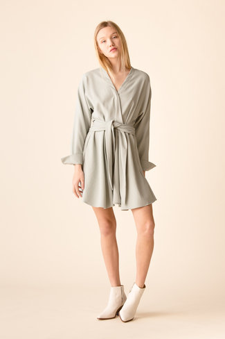 Tibi Tibi Chalky Drape LS Short Wrap Dress