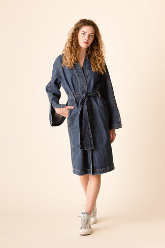 Ganni Ganni Blackstone Denim Robe Jacket