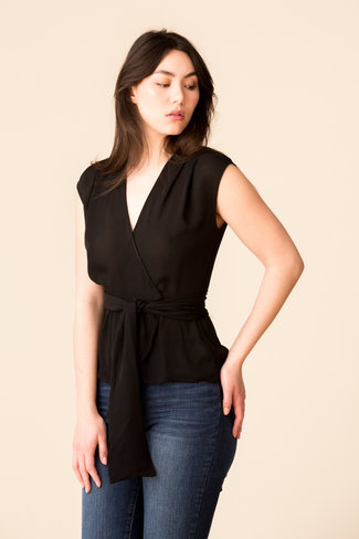 L'Agence L'Agence Clemence Shirred Tie Blouse