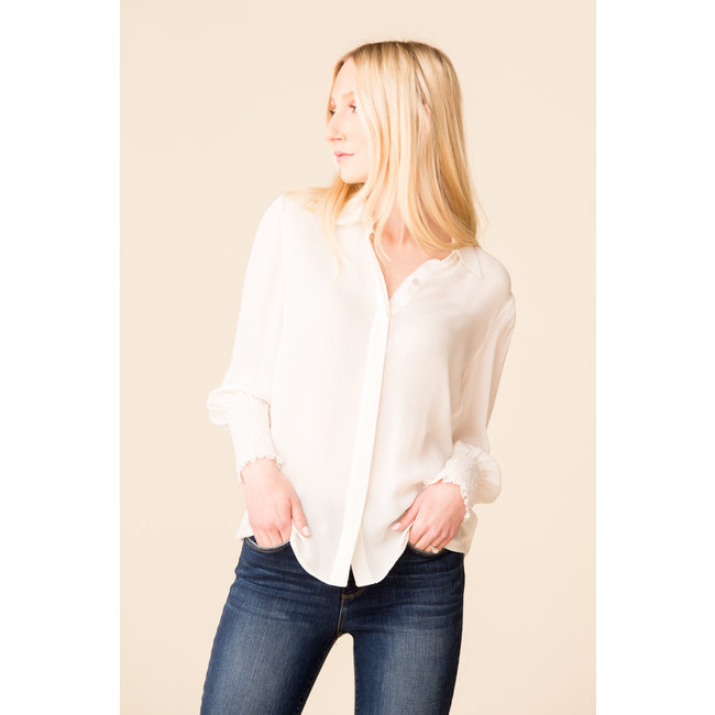 L'Agence L'Agence Lucien Smocked Cuff Blouse