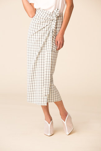 Tibi Tibi Elliot Check Wrap Skirt