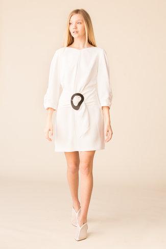 Tibi Tibi Drape Twill Shirred Sleeve Dress W Removable Belt