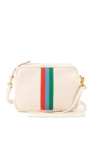 Clare V. Clare V. Midi Sac - White Rustic w Poppy, Sky Blue + Emerald Stripes