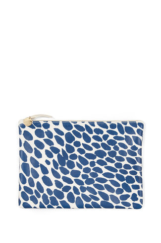 Clare V. Clare V. Flat Clutch - White Smooth Goat w Pacific Jag Splash