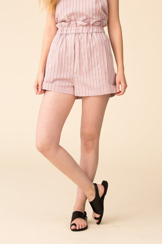 Tibi Tibi Stripe Viscose Twill Pull On Short