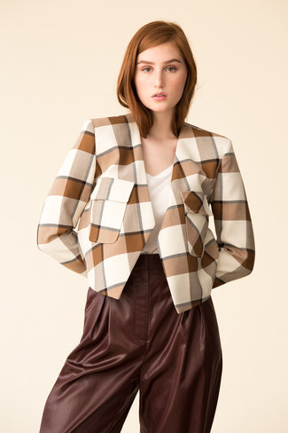 Tibi Tibi Dylan Plaid Cropped Jacket