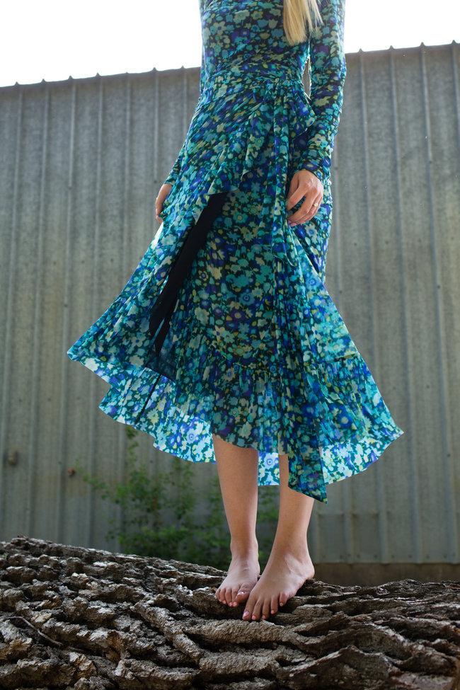 Ganni Ganni Printed Mesh Wrap Skirt