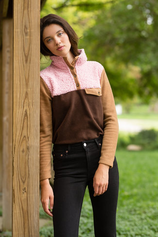 Donni. Donni Tri Fleece Pullover - Pink/Chocolate/Camel