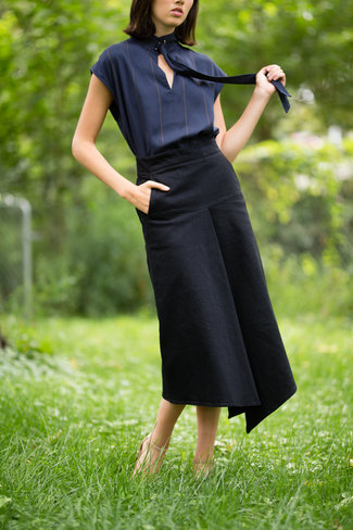 Tibi Tibi Stretch Denim Drape Skirt