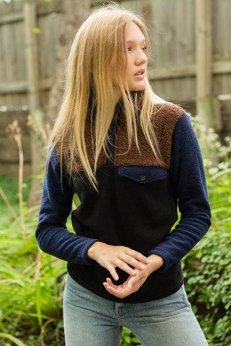 Donni. Donni Tri Fleece Pullover - Chocolate/Navy/Black