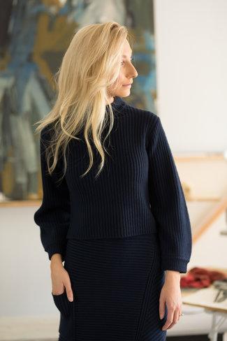 Tibi Tibi Merino Rib Sweater Slit Neck Pullover