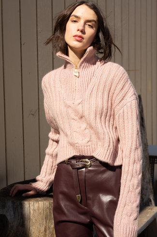 Nanushka Nanushka Cropped Cable Knit Sweater