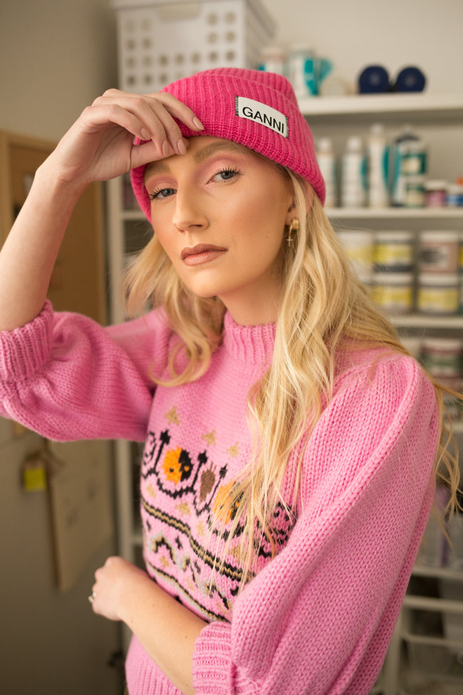 Ganni Ganni Knit Hat Hot Pink
