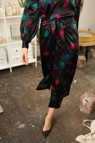 Ganni Ganni Silk Stretch Satin Wrap Skirt