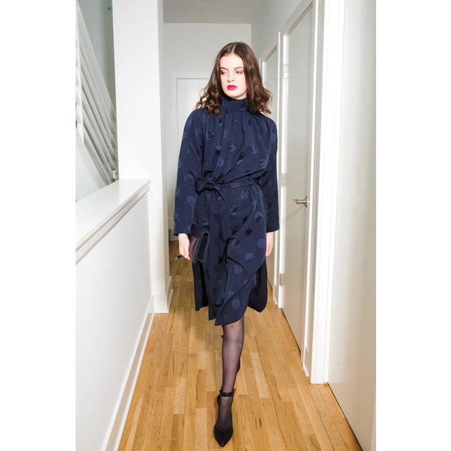 Tibi Tibi Speckled Jacquard Trench Flap Shirred Dress