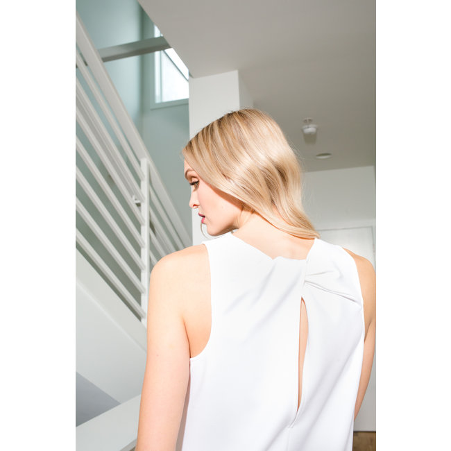 Tibi Tibi Structured Crepe Tank w/ Twist Back Detail