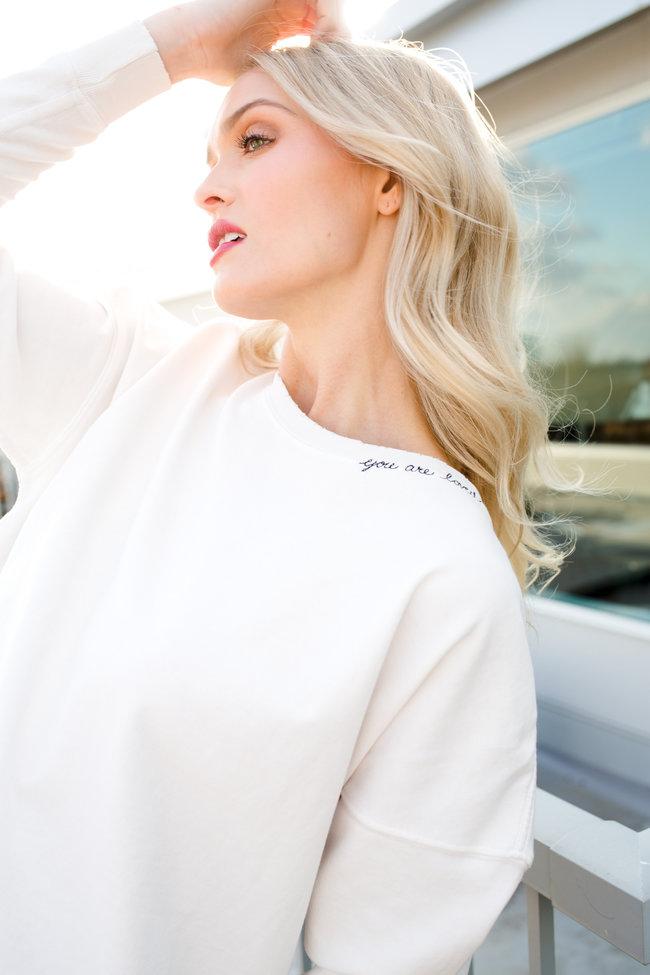 AMO AMO Classic Sweatshirt W/ You Are Loved Embroidery