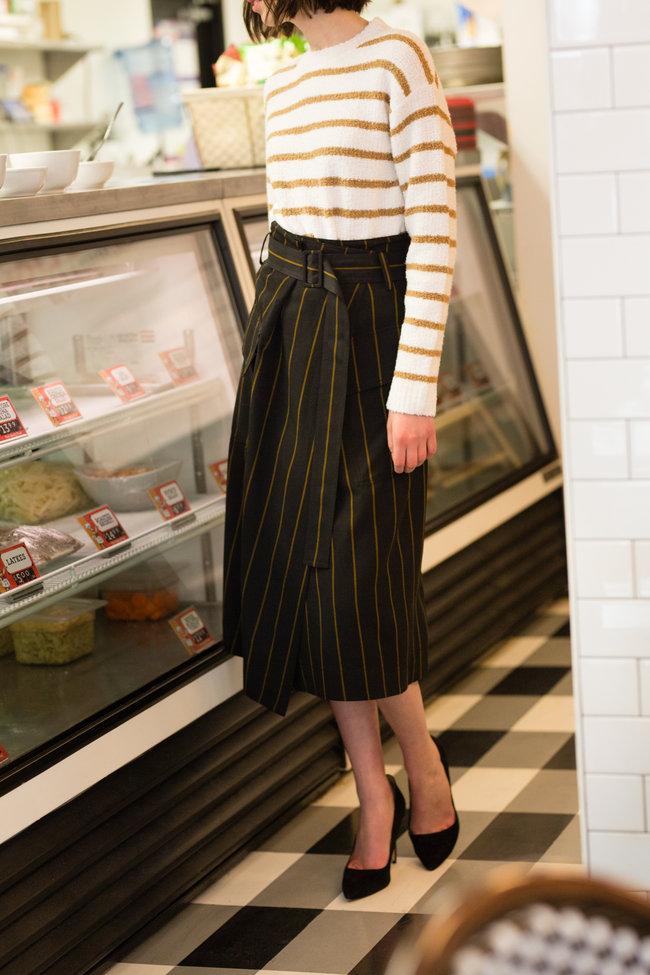 Vince Vince Belted Stripe Utility Skirt
