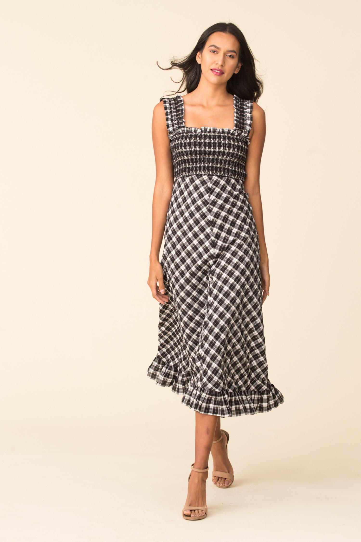 Ganni Seersucker Check Maxi Dress The Fold
