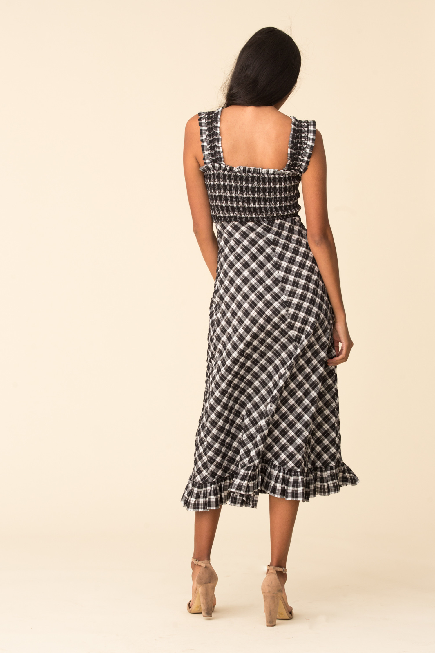 ganni seersucker check maxi dress black
