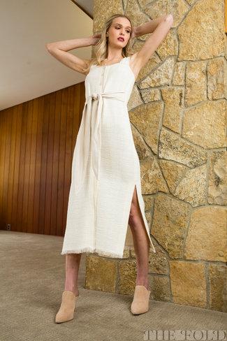 Nanushka Nanushka Rita Tie Front Button Down Dress