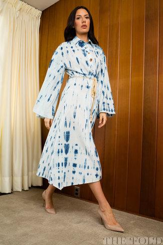 Nanushka Nanushka Hanna Bell Sleeve Peasant Dress