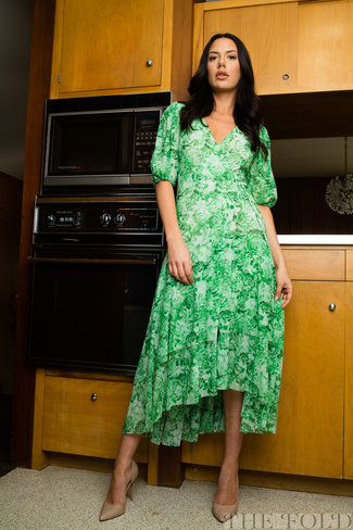 Ganni Ganni Printed Mesh Wrap Dress