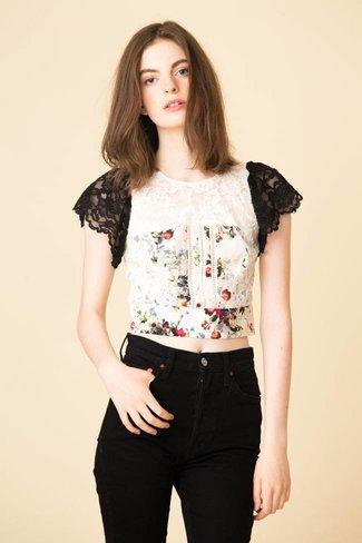 Marissa Webb Marissa Webb Imani Print & Lace Top