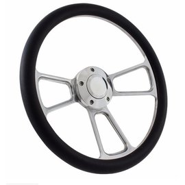 "Forever Sharp Muscle Wheel with Horn Button & Adapter - Billet/Black Wrap - 14"" - 1098"