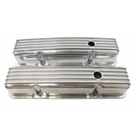 SBC 57-86 Valve Covers - Tall with Holes – Finned - Polished