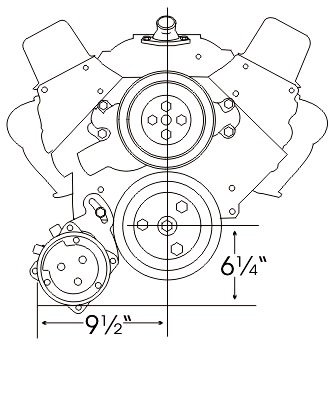 A//C Bracket SB Chevy SWP Low Must use Remote Fuel Pump Alan Grove 106R