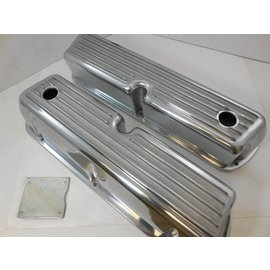 SBF Valve Covers - Tall with Holes - Finned - Polished