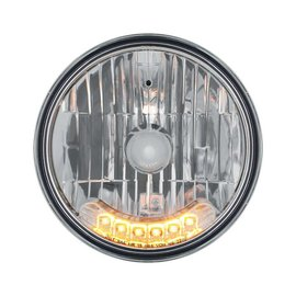 "United Pacific 7"" Headlight with 6 LED Auxiliary Lights - Amber - #31247"