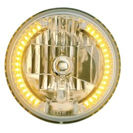 "United Pacific 7"" Headlight with 34 LED Split Halo - Amber - #31378"