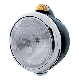 "United Pacific Black ""GUIDE"" Headlight - H6024 Bulb w/ Dual Function Amber LED/Amber Lens - #32412"