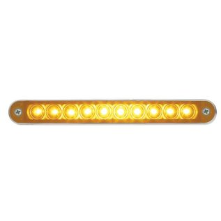 "United Pacific 10 LED 6 1/2"" Turn Signal Light Bar w/ Bezel Amber LED/Amber Lens - #37637"