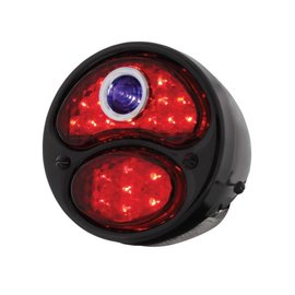 United Pacific 28-31 Ford LED Tail Light Assembly w/Blue Dot - Black Housing/Black Bezel - LH - FTL2831BD-MAL