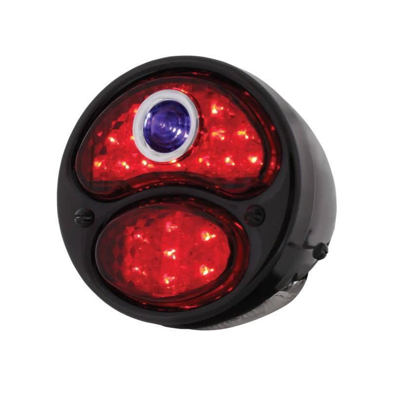 28-31 Ford LED Tail Light Assembly w/Blue Dot - Black Housing/Black Bezel -  LH - FTL2831BD-MAL