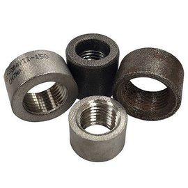 "Tanks Inc. 3/8"" NPT Weld In Half Coupling - Mild Steel - 8NPT-MS"