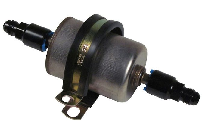 10 micron inline efi fuel filter w/ -6 an male fittings - ff-10-kit -  affordable street rods  affordable street rods