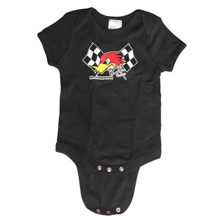 Clay Smith Cams Baby Romper - Mr Horsepower Checkered Flag - Black