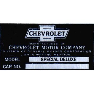 Affordable Street Rods A2 Vin Tag - Chevy (2 Lines) Model: Special Deluxe & Car No