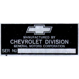 Affordable Street Rods A3 Vin Tag - Chevy (1 Line) Serial No