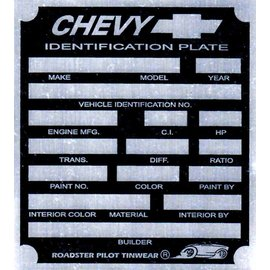 Affordable Street Rods A7 Vin Tag - Chevy ID Plate