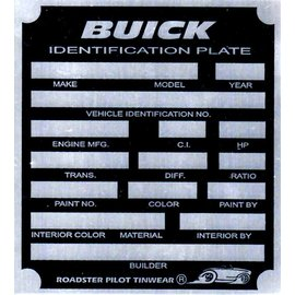 Affordable Street Rods A8 Vin Tag - Buick ID Plate