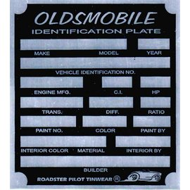 Affordable Street Rods A9 Vin Tag - Oldsmobile ID Plate