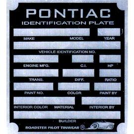 Affordable Street Rods B1 Vin Tag - Pontiac ID Plate