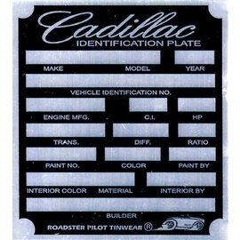 Affordable Street Rods B2 Vin Tag - Cadillac ID Plate