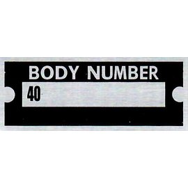 "Affordable Street Rods B5 Vin Tag - Body Number ""40"""
